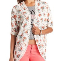 Lace-Trimmed Floral Print Kimono Top by Charlotte Russe - Ivory Combo