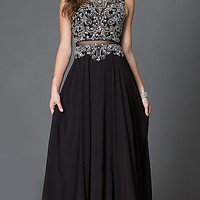 Mock Two Piece Floor Length Illusion Dress with Jewel Embellishments