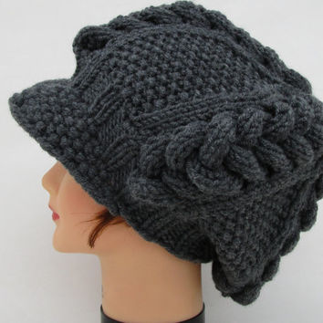 Cable Knit Cap - Women's Newsboy Hat - Charcoal Hat With Visor - Brimmed Beanie - Slouchy Tam - Chunky Headwear - Knit Accessories