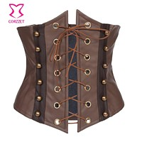 Front Lace Up Brown Steampunk Leather Corset Underbust Waist Cincher Body Shaper Corpetes E Espartilhos Sexy Burlesque Costumes