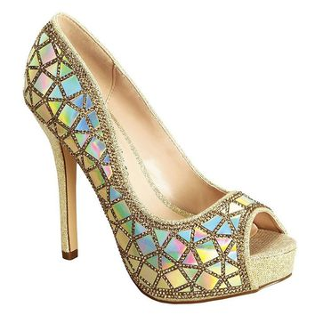 Shimmer Gold Rhinestone Peep Toe Stiletto Heel Pumps Women's