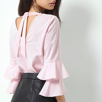 Pink stripe print double bell sleeve top - Workwear - Sale - women