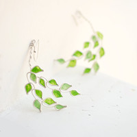 Lime Grove Tree Earrings, Citrus Fruit Jewelry, Sterling Silver Paper Jewelry....