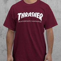 Thrasher Skateboard Magazine Burgandy T-Shirt