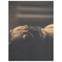 Deep In Thought Pug Fleece Blanket