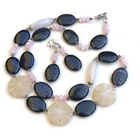 Long Carved Stone Flowers Necklace, White Navy Blue, Asymmetrical Statement Art Nouveau Jewelry, Semiprecious Agate Jasper, OOAK Unique