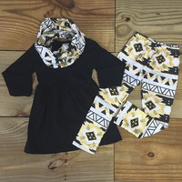 3-Pc Black & Gold Aztec Scarf Set