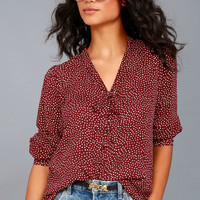 On the Spot Burgundy Polka Dot Button-Up Top