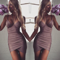 Women Spaghetti Strap Bandage Dress V neck Bodycon Mini Sexy Club Dress 2016 Rayon Sheath Party Dresses Drop Ship