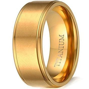 8mmTitanium Ring Gold Tunnel Fashion Simple Style Wedding Engagement Promise Band