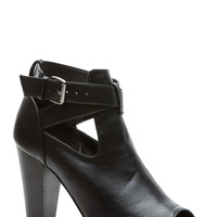 Black Faux Leather Ankle Strap Chunky Peep Toe Heels