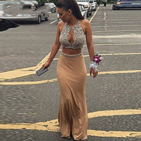 Champagne 2 Piece Prom Dresses Sexy Vestido De Noiva Halter Backless Beading Chiffon Long Mermaid Prom Party Gowns