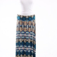 Geo Knit Skirt, Blue-Taupe