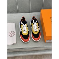 HERMES Men Fashion Boots fashionable Casual leather Breathable Sneakers Running Shoes0509em