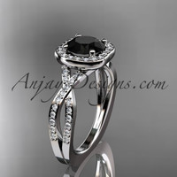 platinum wedding ring, engagement ring  with a Black Diamond center stone ADER393