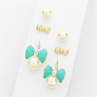 Bow Print Turquoise Stud Earring Set