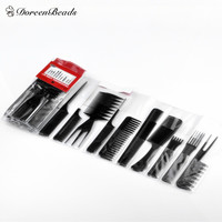 1 Set (Contain10 pcs) Black Professional Combs (Set 15cm - 23cm) - Barbers and Stylists Supplies