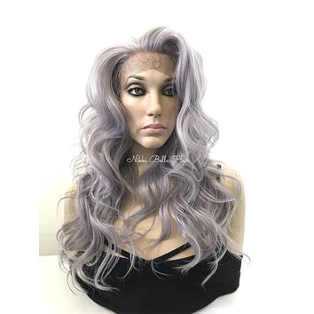 Gray Human Hair Blend Multi Parting Lace Front Wig -  Nikki