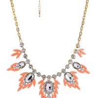 """Light Pink Cabochon and Crystal Leaf Gold-Tone Statement Necklace, 19.5"""" + 3"""" Extender"""
