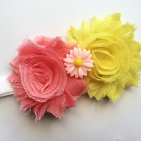 Yellow and Coral Flower Headband for Girls - Spring Headband - Easter Head Band - Shabby Flower Head Band - Toddler Headband -White Headband
