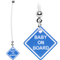 Blue Baby on Board Pregnant Belly Ring | Body Candy Body Jewelry