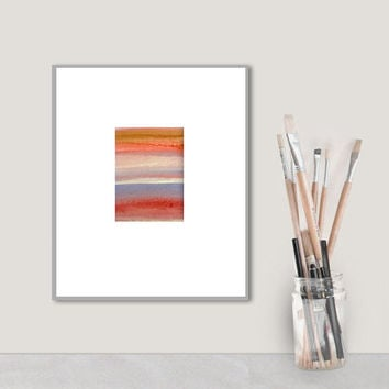 Original Watercolor Painting - stripes - brown red peach orange - ombre gradient - southwest sunset -modern minimal - abstract art