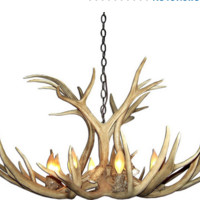 Canadian Antler Design Mule Deer 6-Light Natural Brown Antler Chandelier Rustic Lodge Log Cabin