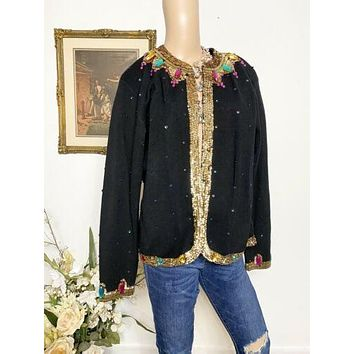 VTG Outlander Retro 1980's 90s Black Jewel Jacket Sz Large. R2