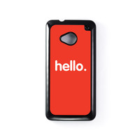 Hello Black Hard Plastic Case for HTC One M7 by textGuy