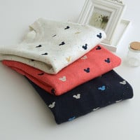 Colored flowers line Mickey embroidery sweater hedging