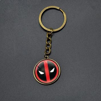 Deadpool Dead pool Taco Hot Sell  Key Chains Boy DC Anime Glass Cabochon Dome Pendant Keychain Vintage Cartoon Key Rings For Men Students Gifts AT_70_6