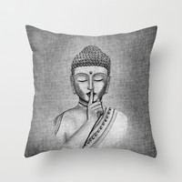 Shh... Do not disturb - Buddha Throw Pillow by Vanya