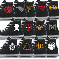 Custom Converse Shoes for all Fandom - Add text or logo you would like in all colours
