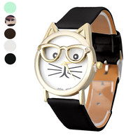 New Cute Glasses Cat Analog Quartz Dial Wrist Watch For Cat Lovers