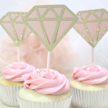 Gold & Pink Diamond Cupcake Topper - For Party, Celebration, Bachelorette, Wedding, Birthday, Baby Shower, Gold Theme Birthday (Set of 12)