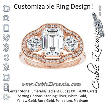 Cubic Zirconia Engagement Ring- The Iekika (Customizable 3-stone Radiant Cut Design with Multi-Halo Enhancement and 150+-stone Pavé Band)