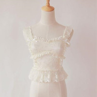 Dreamy Beige Lace Strap Corset Top Free Ship SP141265 from SpreePicky