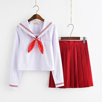 2018 new plus size JK Japanese School sailor uniform fashion school class White suit Girl student school uniforms for Cosplay