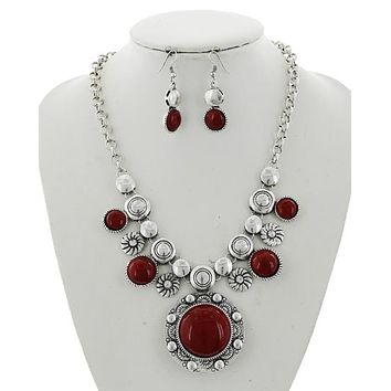 Red, Blue Turquoise Abalone, Black & Silver Necklace and Earring Set