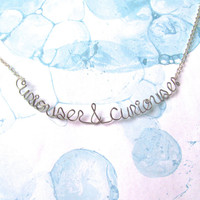 Curiouser & Curiouser Necklace - Alice in Wonderland Jewelry - Quote Necklace