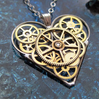 "Valentine's Day Gift Heart Necklace ""This"" Elegant Industrial Heart Pendant Mechanical Steampunk Love Sculpture Gershenson-Gates Gear Heart"