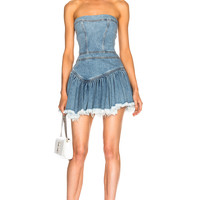 Alexandre Vauthier Strapless Mini Dress in Sky | FWRD