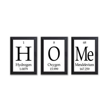 Home Periodic Table Framed 3 Piece Wall Plaque Set