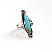 Sale - Vintage Sterling Silver Turquoise Blue Stone Ring - Retro Southwestern Native American Style Jewelry
