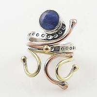 Sapphire Three Tone Sterling Silver Adjustable Ring