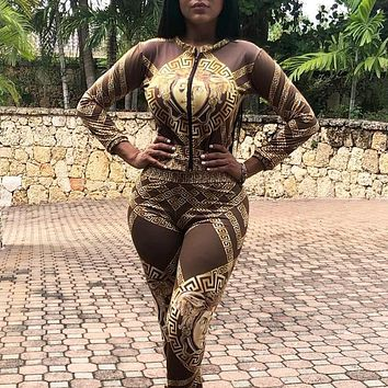 Versace  New fashion pattern human head print long sleeve top and pants two piece suit