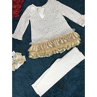 Rare Editions White & Gold Pant Set CH