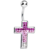 Paved Pink and Clear Gem Cross Belly Ring | Body Candy Body Jewelry