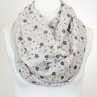 Petite Floral Infinity Scarf - Taupe