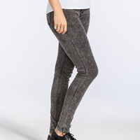 Almost Famous Acid Wash Womens Knit Skinny Jeans Black  In Sizes